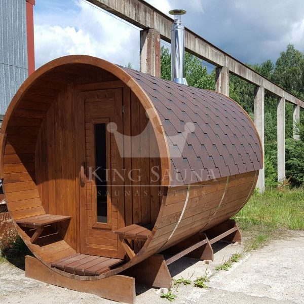 """ROUND"" sauna 3.24m x 2.38m with open dressing room"
