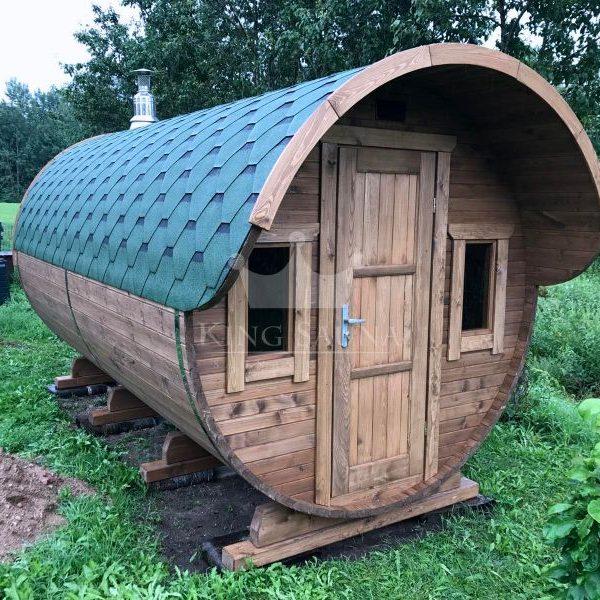 """ROUND"" outdoor sauna barrel 4.24m x 2.38m 10 people"