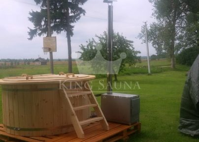 """WOODEN"" hot-tub 2.0m With External Furnace"