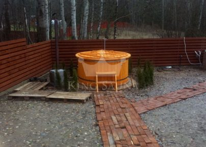"""PLASTIC"" Hot-tub 2.0m with fir wood decoration"