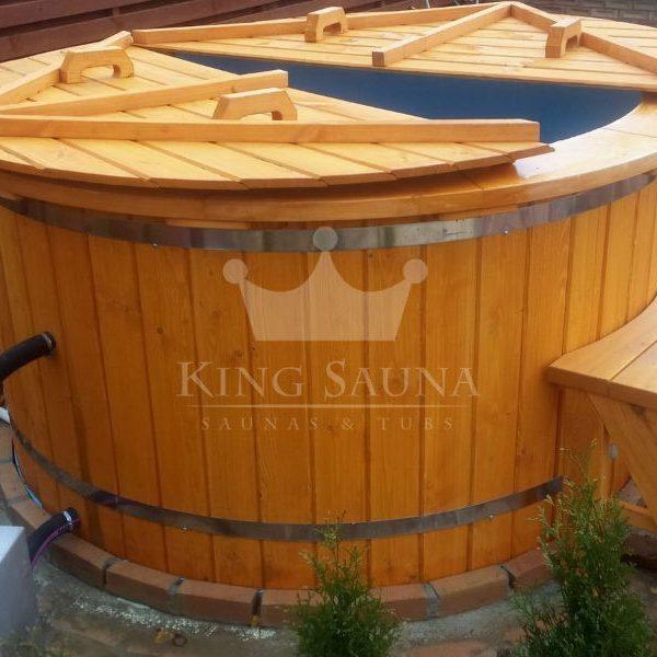 """PLASTIC"" Hot-tub 2.0m with fir wood decoration"