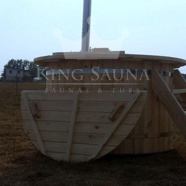 """PLASTIC"" hot-tub 1.8m with fir wood decoration"