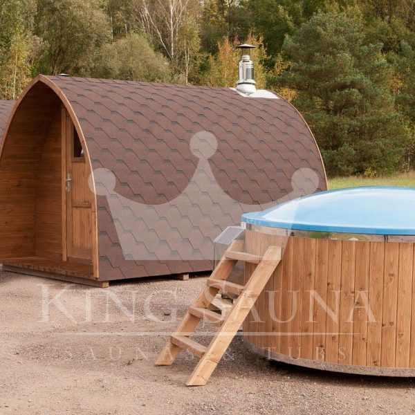 "Build yourself! ""GLASS FIBER"" hot-tub with wood decoration"