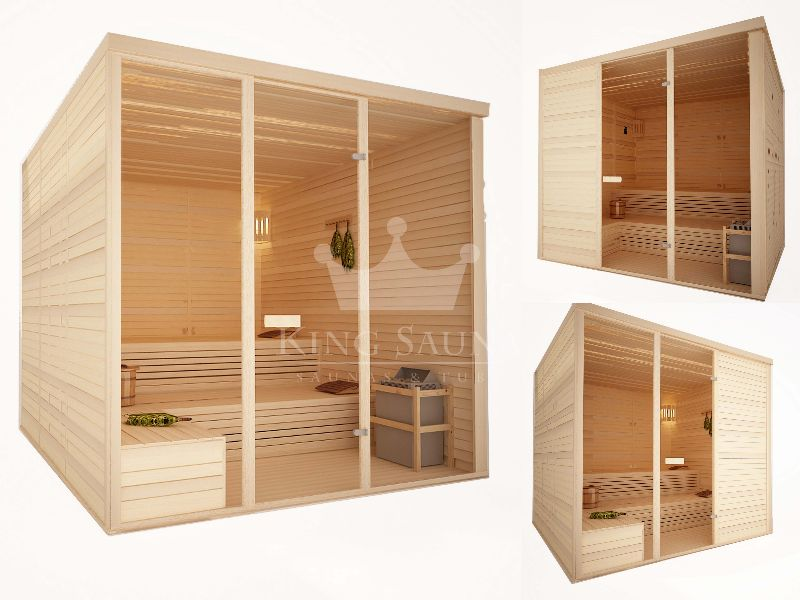 Indoor sauna with bent benches