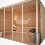 Indoor sauna with bent benches